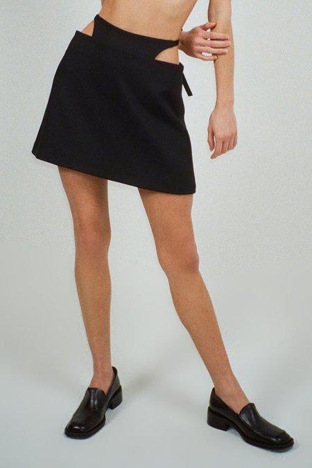 Sandy Liang Satin Bunny Skirt - Black