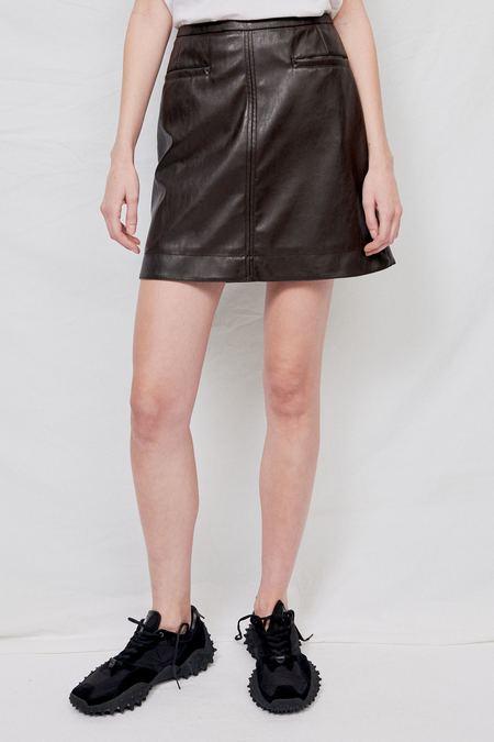 LVIR Faux Leather Skirt - Dark Brown