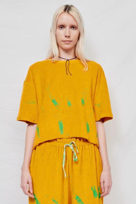 Woodrose Deli Terry Splatter Oversized Tee - Yellow