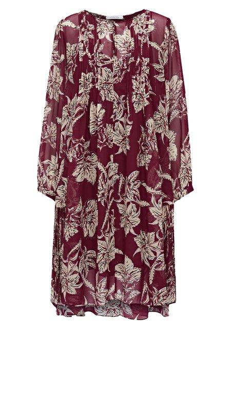 Dorothee Schumacher Translucent Florals Dress - Bordeaux/Beige