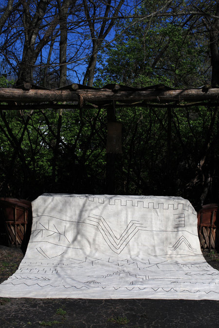 Nomad Collective Hand-stitched Turkish Kilim rug - white/black