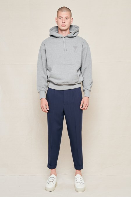 AMI Tapered Cropped Pleated Wool Suit Trousers - NAVY 410