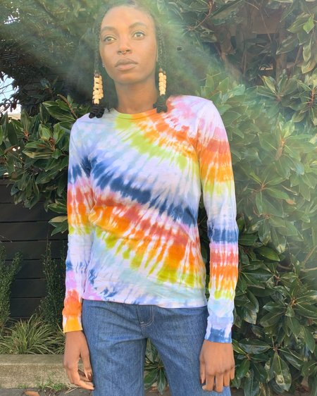 unisex Queen of Cups Ice Dyed Long Sleeve Tee - Rainbow