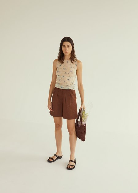 permanent vacation Longline Pleated Shorts - brown
