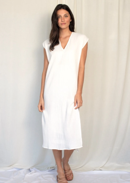 Natalie Busby Straight Midi Dress - White