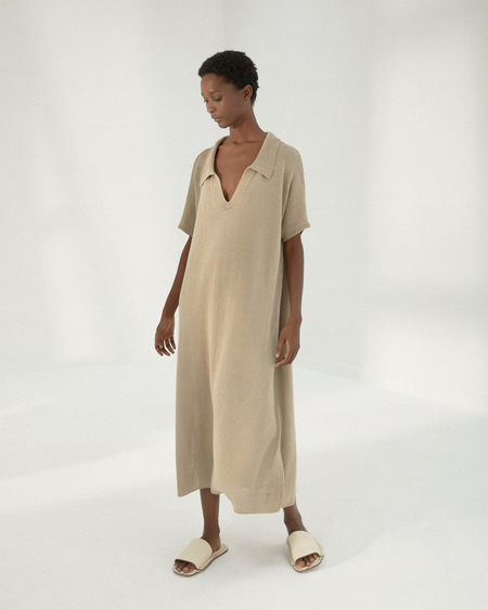 Mónica Cordera Knit Linen Dress - Smocked Green
