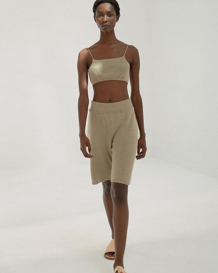 Mónica Cordera Knit Linen Bermuda - Smocked Green