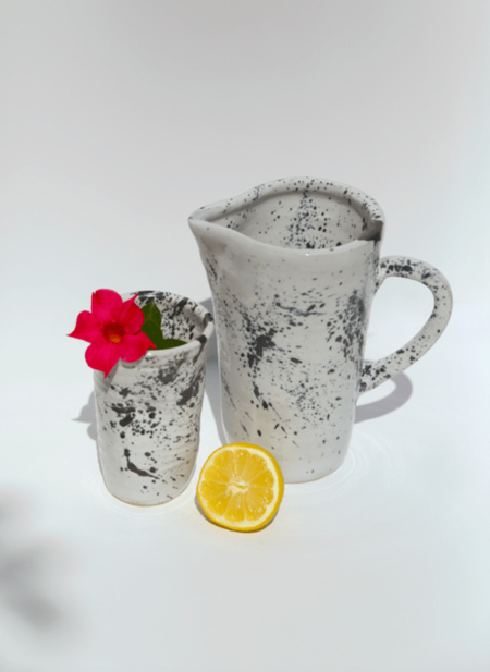 Modern Society Kyoto Water Jug & Cup - Black/White