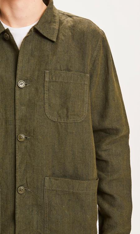 knowledge cotton apparel pine linen overshirt jacket - forrest night