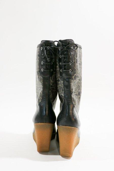 Pre-loved Celine Patterned Mid-Calf Boots - black