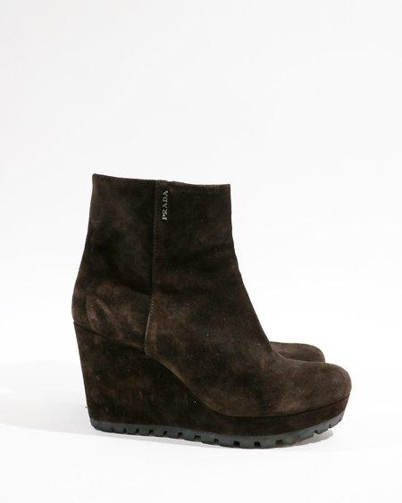 Pre-loved Prada Suede Wedge Ankle Boots - brown