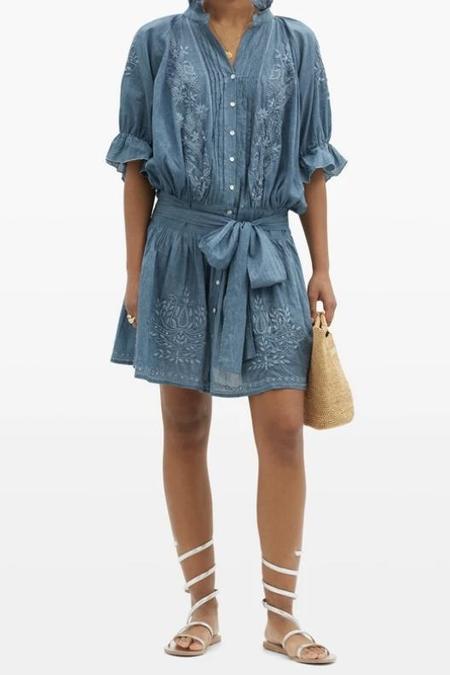 Juliet Dunn Acid Wash Blouson Dress - Denim Blue