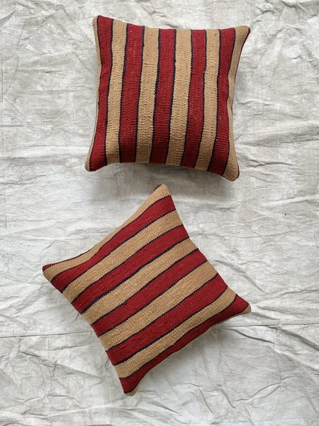 Cuttalossa & Co. Outlined Stripe Kilim Pillow - Berry/Wheat