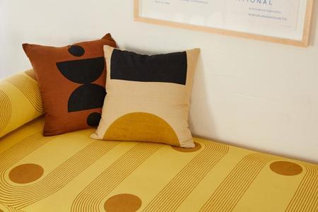 Block Shop Textiles Dot Dash Pillow Case - Black/Ochre
