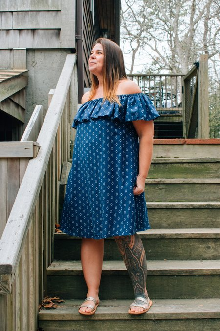 Conrado Melanie Off-Shoulder Dress - Navy Geo Print