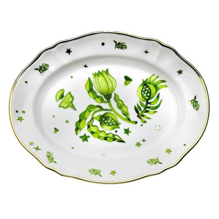 Bitossi Oval Platter - floral Green