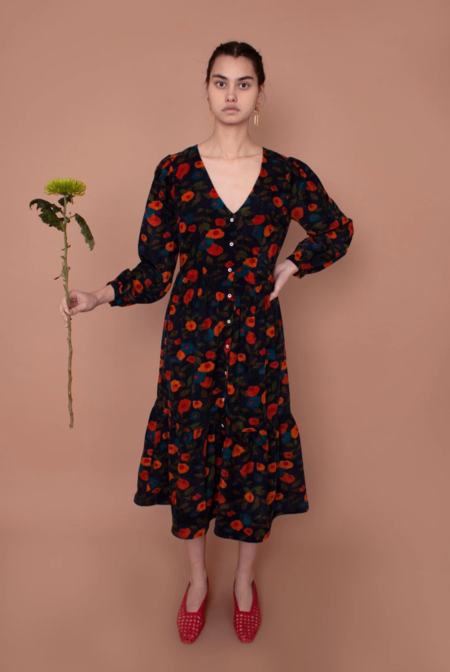 Meadows Orchard Dress - Navy Floral Corduroy