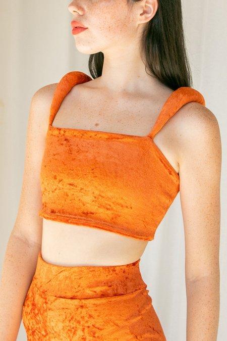 No Wallflower Project Velvet Padded Shoulder Bodice - Burnt Orange