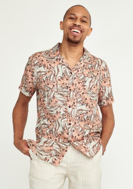 Wax London Didcot Lightweight Lyocell Shirt - Wave Print