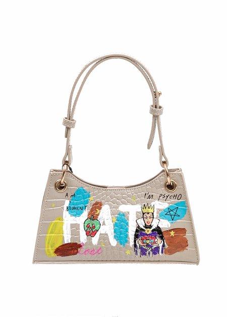 Guernika Paint Minny Leather Evil Queen bag - Beige