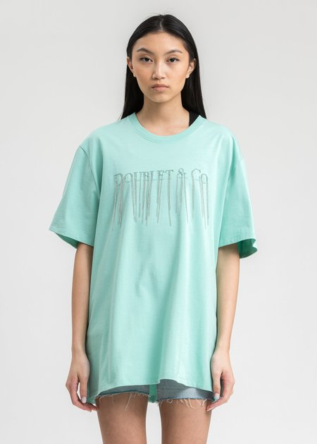 Doublet Chain Fringe Embroidery T-Shirt - Emerald