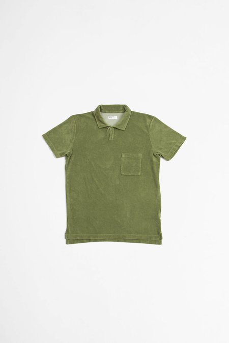 Universal Works Terry Fleece Vacation Polo Shirts - Olive