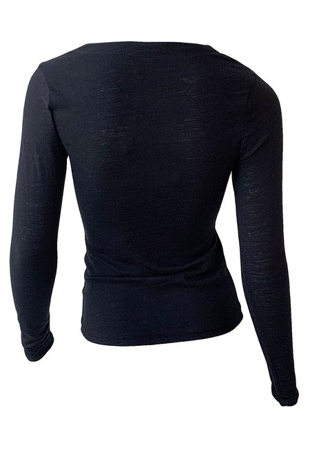 The Range Strata Slub Jersey Button Down top - Black