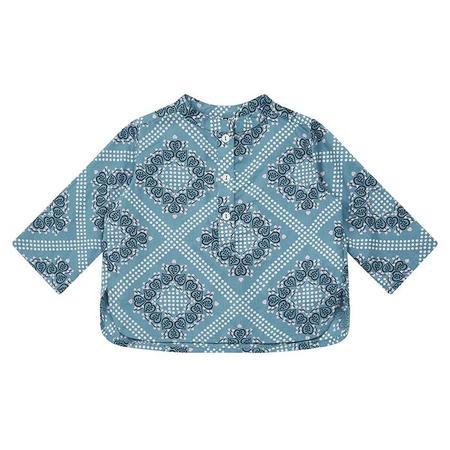 Kids Bonton Adriano Shirt - Leaf Print Blue