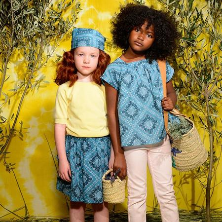 Kids Bonton Ruche Skirt - Leaf Print Blue