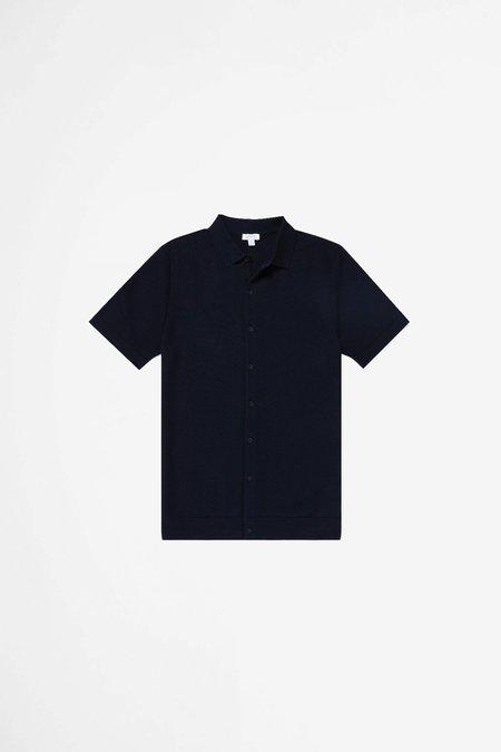 Sunspel Cotton Fine Texture Knitted Shirt - Navy