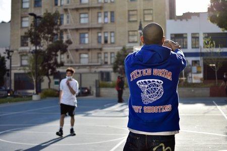 Tilted Brim Reverse Weave Shot Shooters Hooded Sweatshirt - Blue