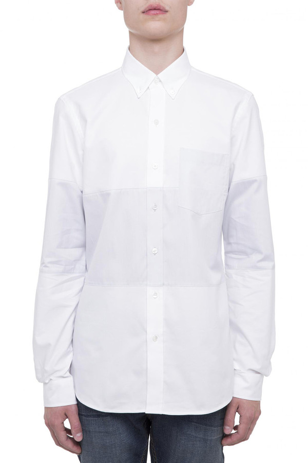 Men's Timo Weiland White Cut and Sew Shirt