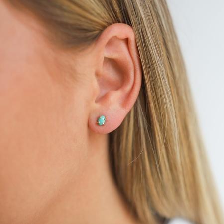 Melissa Joy Manning Natural Arizona Turquoise Studs - 14kt Gold
