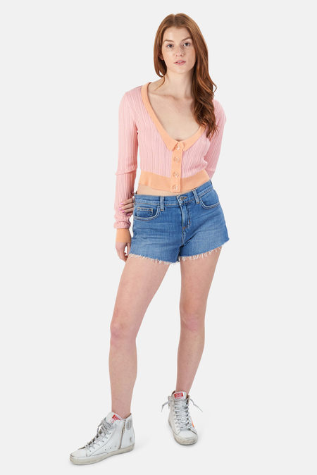 For Love & Lemons Phoebe Pointelle Cardigan Sweater - Apricot