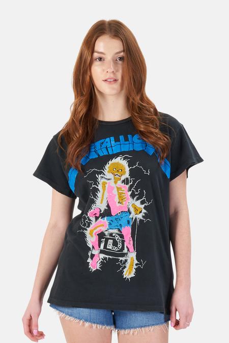 MadeWorn Rock Metallica Crew T-Shirt - Coal Pigment
