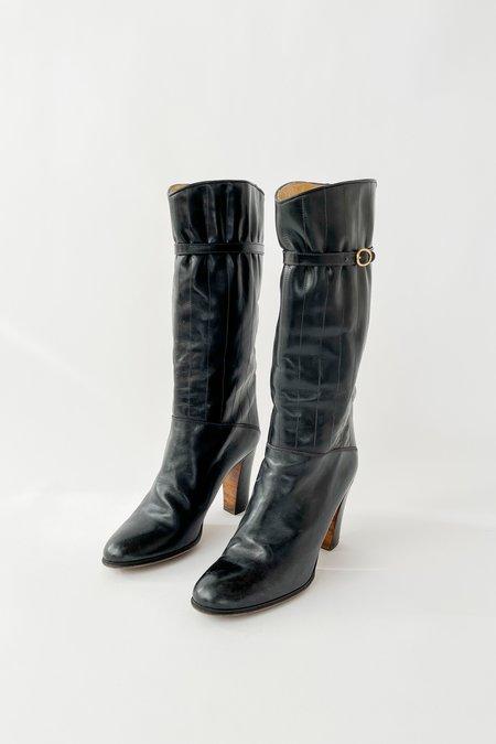 Vintage High Heel Paneled Buckle Boots - Black