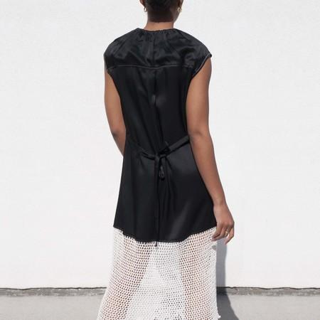 Unisex Wales Bonner Lucia Gathered Crochet Dress - Black/White