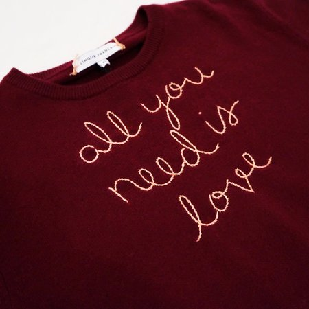 Lingua Franca All You Need is Love Cashmere Sweater - Maroon/Peach