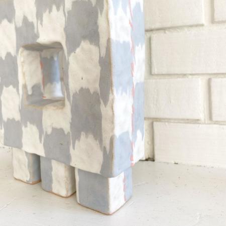 Kelsie Rudolph Denim Squares Vessel - cream/greyish blue/peach