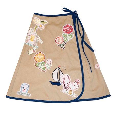 Vintage Embroidered Wrap Skirt - Khaki