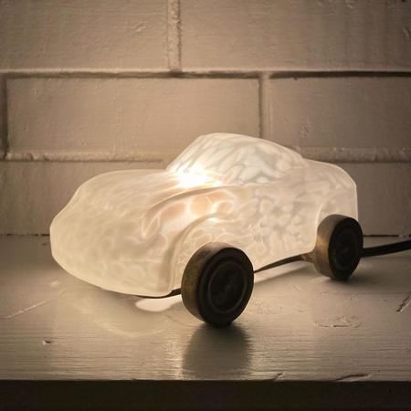 Vintage Glass Race Car Lamp