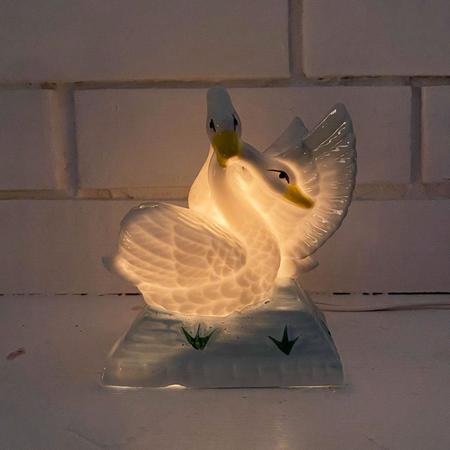 Vintage Porcelain Swan Lamp