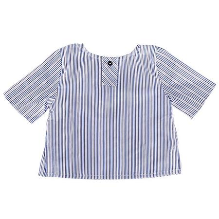 kids Pequeno Tocon Baby Shirt And Shorts Two Piece Set - Blue Stripes