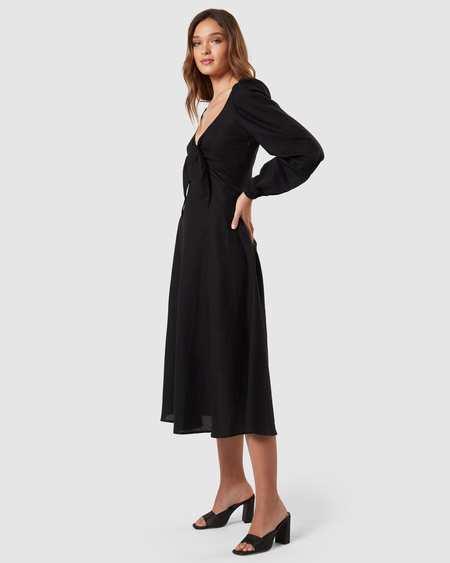 Charlie Holiday Linen Long Sleeve Midi Dress - black