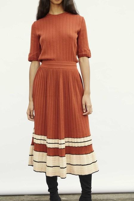 Molli Pleated Cotton/Paper Skirt - Cayenne