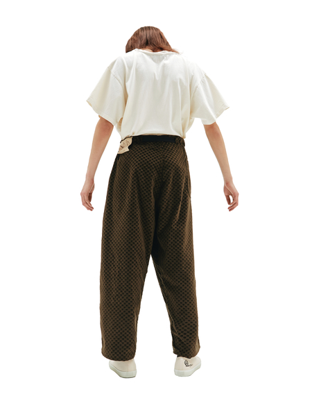 Enfants Riches Deprimes Velour Checked Trousers - Khaki