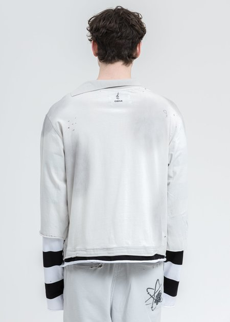 C2H4 Panelled Distressed Double Layer Long Sleeve - Black/White