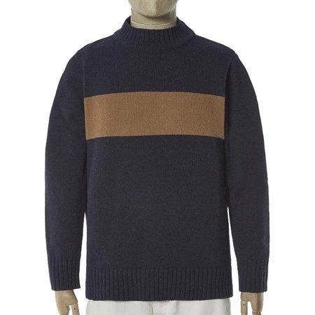 Universal Works Soft Wool Chest Stripe Crew sweater - Navy/Sand
