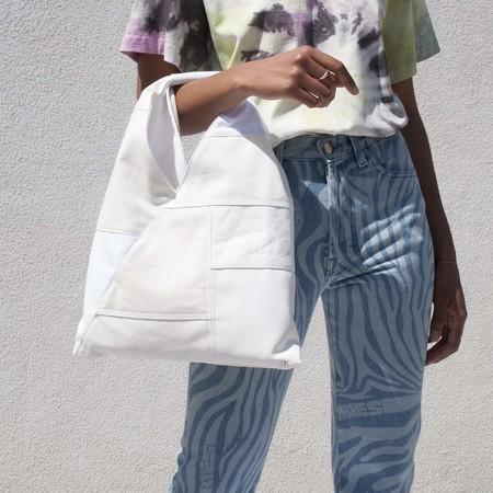 Maison Margiela Patchwork Leather Small Triangle Bag - white
