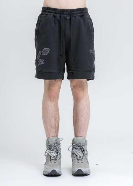 C2H4 Patched Ruin Distressed Sweat Shorts - Black